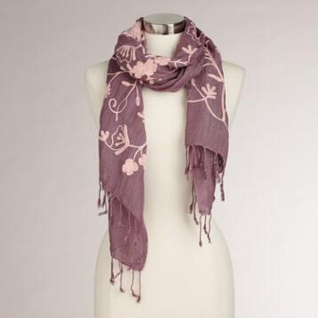 Dark Violet and Pink Floral Embroidered Scarf