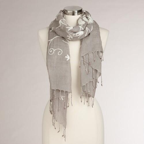 Beige and Cream Floral Embroidered Scarf
