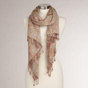 Peach Jaquard Burnout Scarf