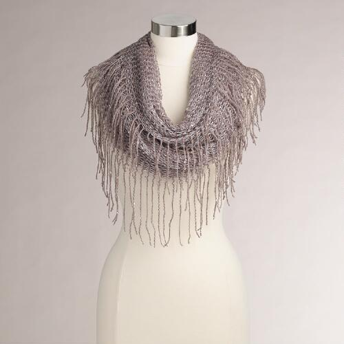 Lavender Woven Sequin Infinity Scarf with Fringe