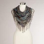 Square Abstract Animal Scarf with Fringe