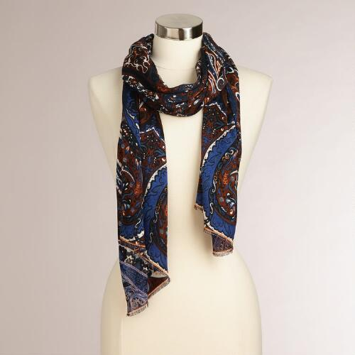Navy and Brown Paisley Frayed Scarf