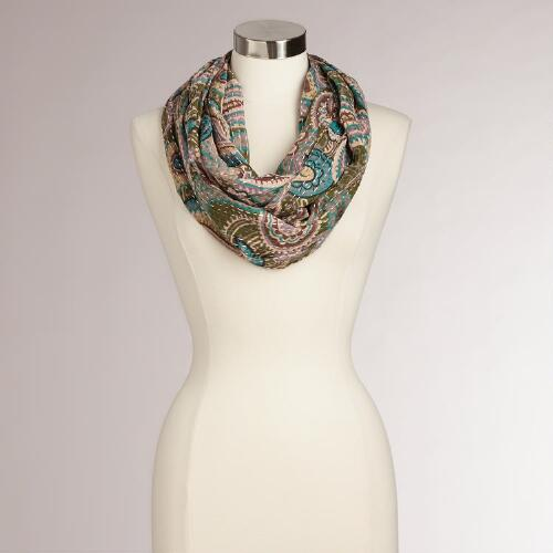 Teal Paisley Kantha Infinity Scarf