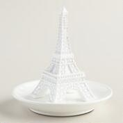 White Eiffel Tower Ring Holder