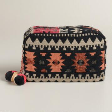 Warm Tribal Travel Pouch with Pom-Poms