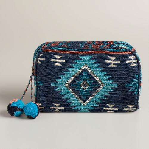 Cool Tribal Travel Pouch with Pom-Poms