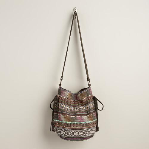 Brown and Pink Carpet Bucket Bag
