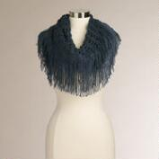 Blue Two-Tone Fringed Infinity Scarf