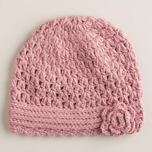 Blush Flower Knit Beanie