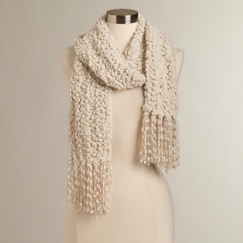 Oatmeal Nubby Long Scarf