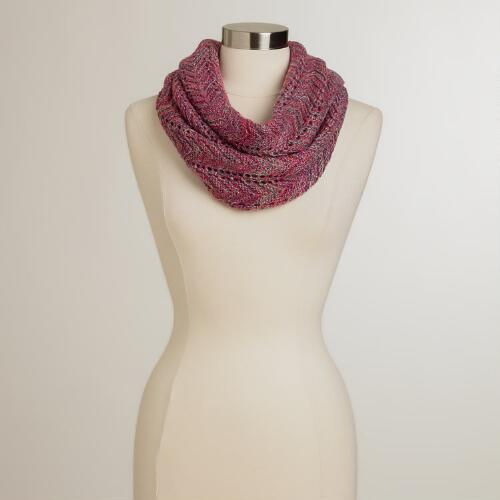 Purple and Pink Chevron Infinity Scarf