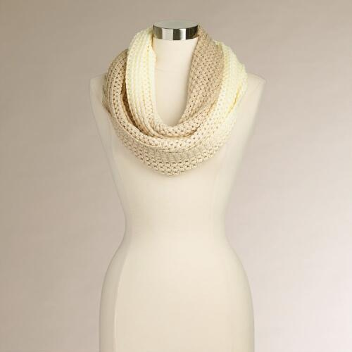 Ivory and Taupe Ombre Infinity Scarf