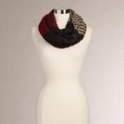 Black and Wine Color Block Infinity Scarf