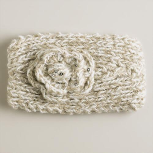 Gray and Ivory Sequined Flower Head Warmer