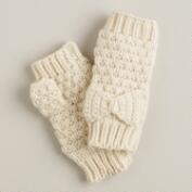 Ivory Fingerless Bow Gloves