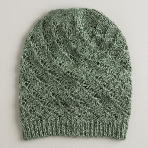 Green Slouchy Knit Hat