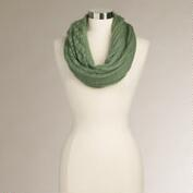 Green Open Stitch Infinity Scarf