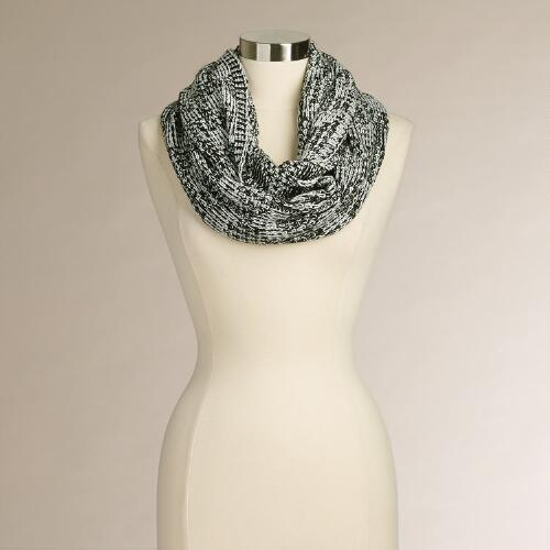 Black and White Geometric Infinity Scarf
