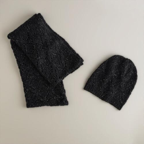 Black Open Weave Infinity Scarf and Hat Set