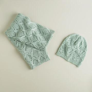 Mint Green Infinity Scarf and Hat Set