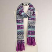 Blue and Fuchsia Fairisle Fringe Scarf