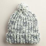 Ivory and Black Knit Pom Hat