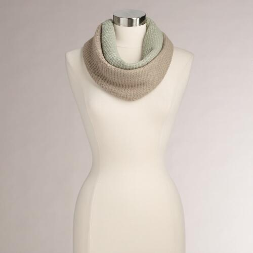 Mint and Taupe Color Block Infinity Scarf