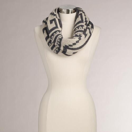 Gray and Taupe Tribal Print Scarf