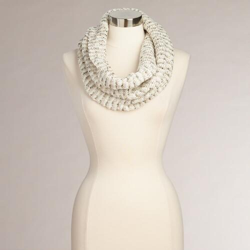 Ivory and Gold Twist Sequin Snood