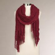 Wine Open Stitch Long Scarf