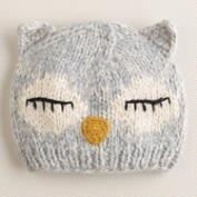 Gray Owl Knit Hat
