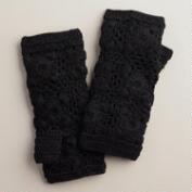 Black Flower Crochet Fingerless Gloves