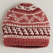 Coral Fairisle Wool Hat