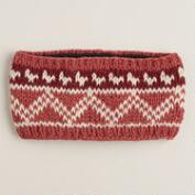 Coral Fairisle Wool Head Warmer
