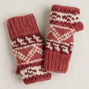 Coral Fairisle Wool Fingerless Gloves