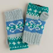 Blue Fairisle Wool Fingerless Gloves