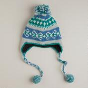 Blue Fairisle Pom Wool Hat