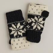 Black and Ivory Fairisle Wool Fingerless Gloves