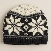 Black and Ivory Fairisle Wool Hat