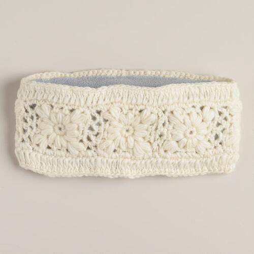 Ivory Flower Wool Head Warmer