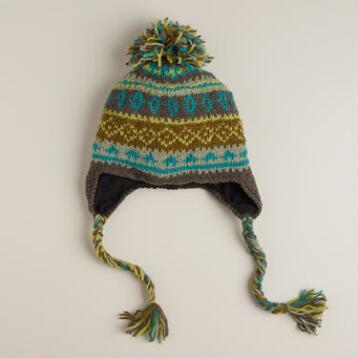 Green Fairisle Pom Wool Hat