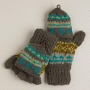 Green Fairisle Wool Glittens