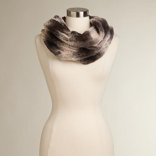Ivory and Brown Faux Fur Snood