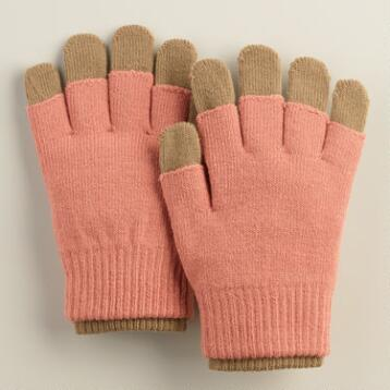 Mauve and Mushroom 3-in-1 Knit Gloves