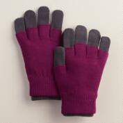 Gray and Magenta 3-in-1 Wool Gloves
