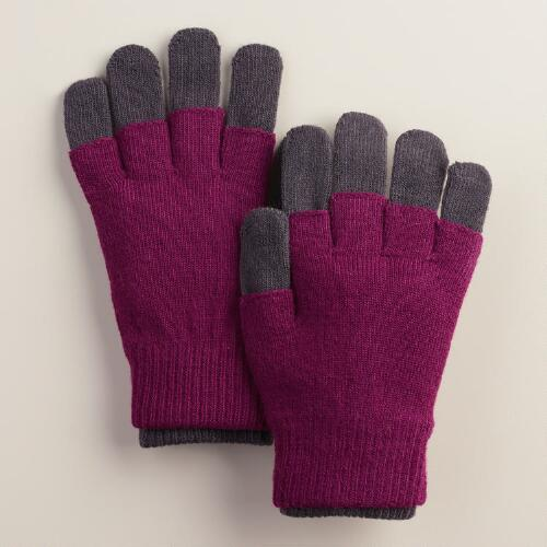 Gray and Magenta 3-in-1 Gloves