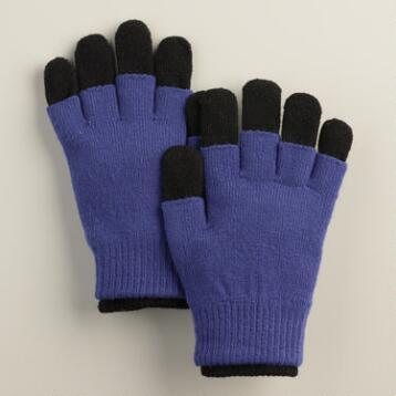 Cobalt and Black 3-in-1 Wool Gloves