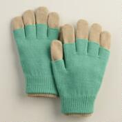 Green and Taupe 3-in-1 Wool Gloves