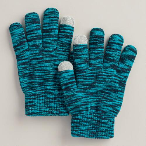 Blue Marled Touch Screen Gloves