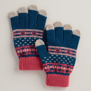 Blue Stripe Touch Screen Gloves